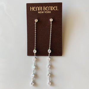 Henri Bendel silver crystal drop earrings